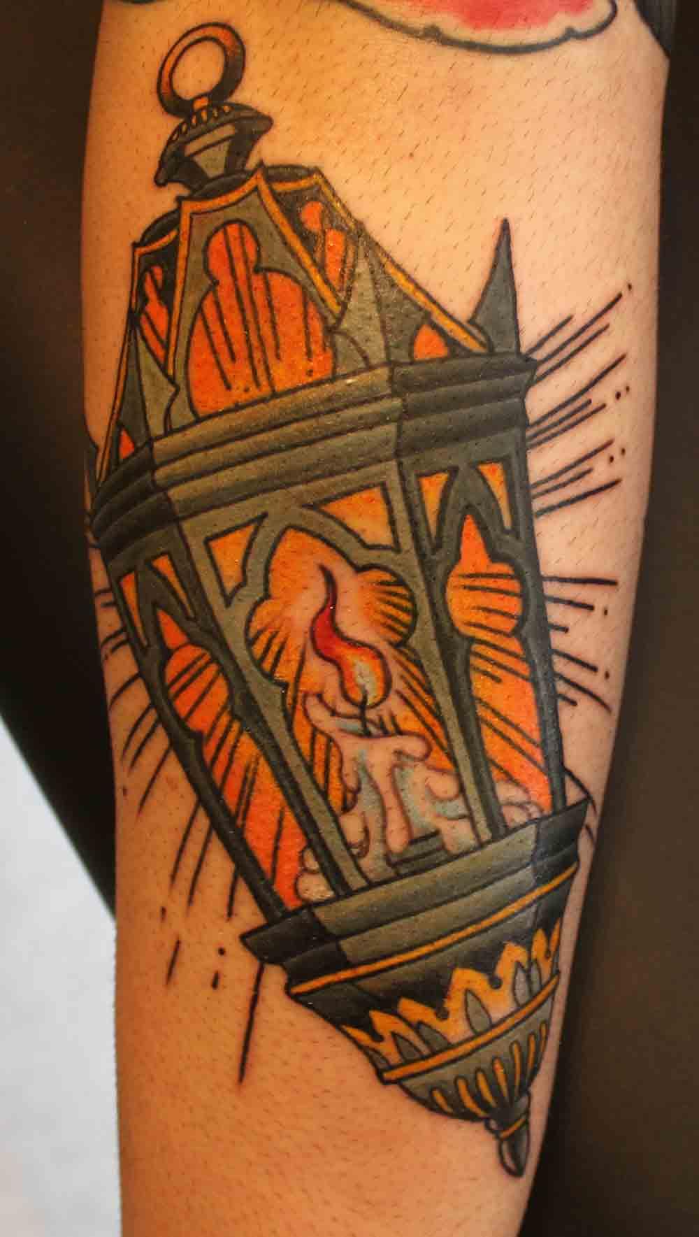 Lamp Colored Tattoo Custom Tattoos In New York