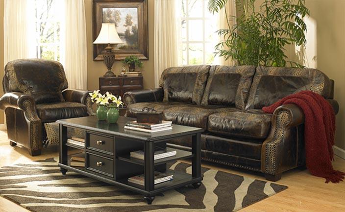 Rustic Brown Leather Sofa And Chair Set U2014 Leather Furniture In Tukwila, WA