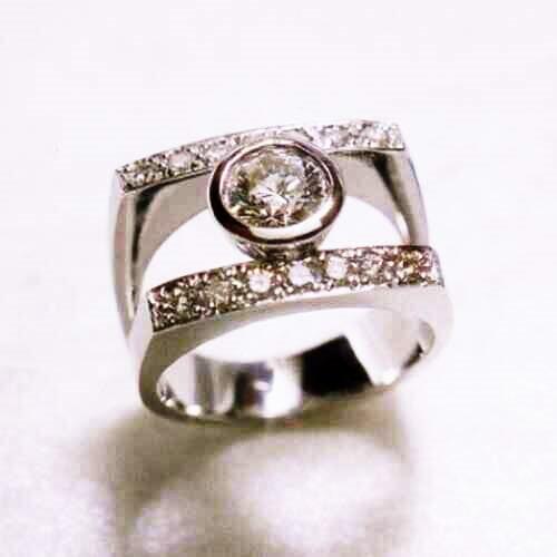 Huge Ring With Diamonds Horizontal Design   Wedding Ring In San Diego, CA