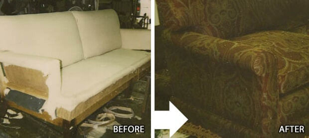 Before And After Couch Repair | City Upholstering | Annapolis, MD