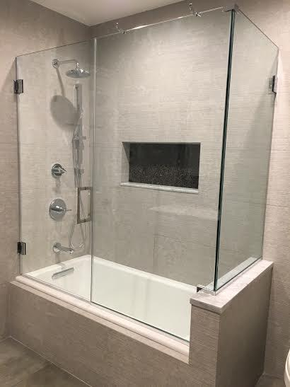 Frameless Corner Tub Enclosure & TriView Reflections - tub-doors - Westbury NY