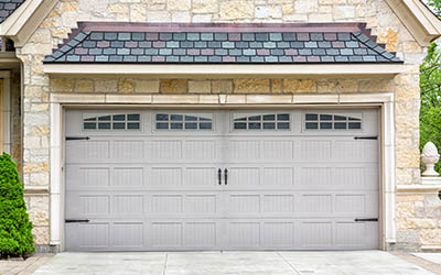 Traditional Two Car Garage With Windows And Grey Panels   LiftMaster  Products In Des Moines,. AAA Garage Door ...