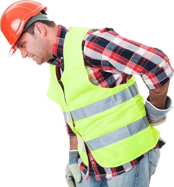 Young constructor suffering from back pain - Work injury in Vancleave, MS