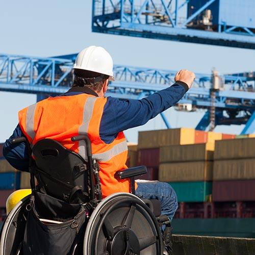 Transportation engineer in a wheelchair - Longshore work in jury in Vancleave, MS