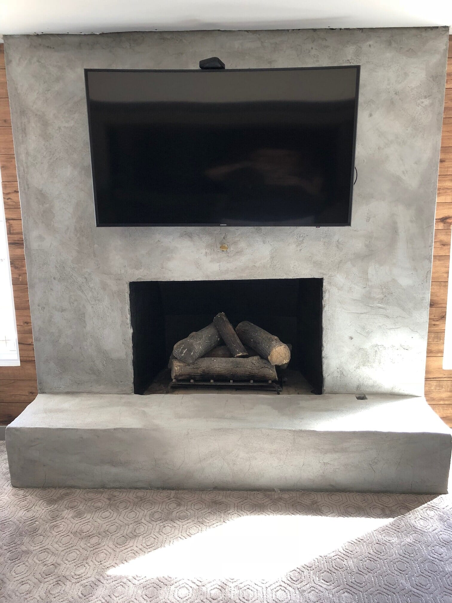 from limestone taller interior ceilings after fireplace installed feel brick design preferred we to how a floor cover make the reface greensboro tiles their ceiling homeowner refacing this