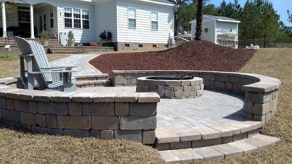 Brick Fire Pit - Hardscapes in Fayetteville, NC - Outdoor Concrete Design - Fayetteville, NC - Hillside Construction