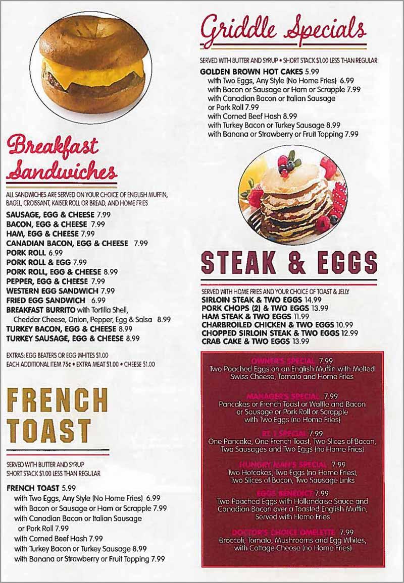 Breakfast Menu Provided By Crystal Diner In Edgewater Park NJ