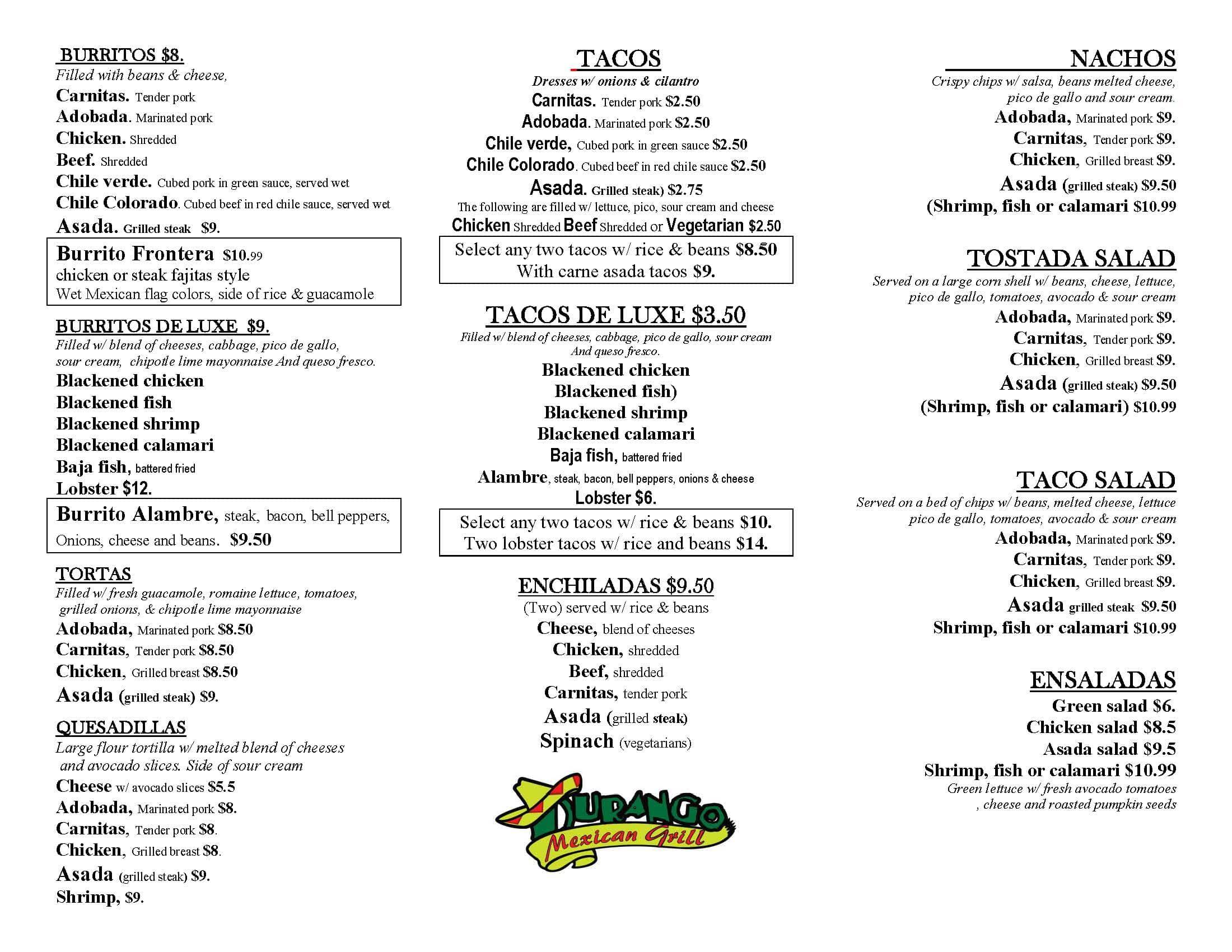 Durango Mexican Food Brea