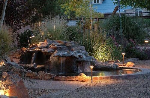 Pond - Water Feature with Lighting in Albuquerque, NM - Pond Installation - Albuquerque, NM - Steve Shelly Landscapes