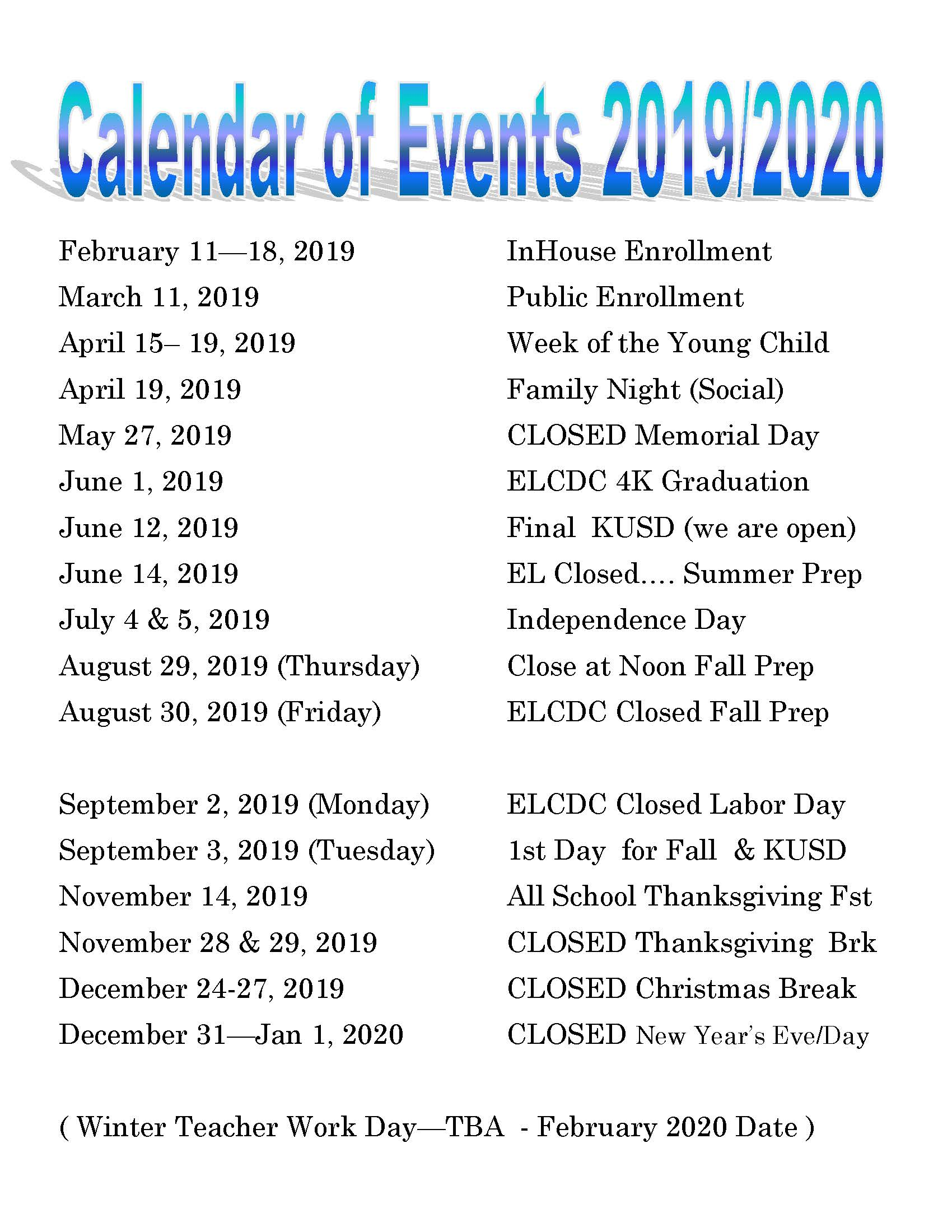 2020 Events Calendar Calendar of Events | Extended Love | Pleasant Prairie, WI