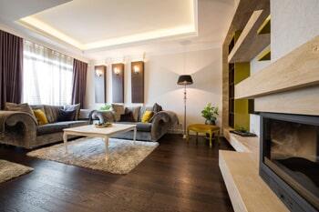 Wood Flooring — Modern Design Of Living Room With Wooden Floor in Stockbridge, GA
