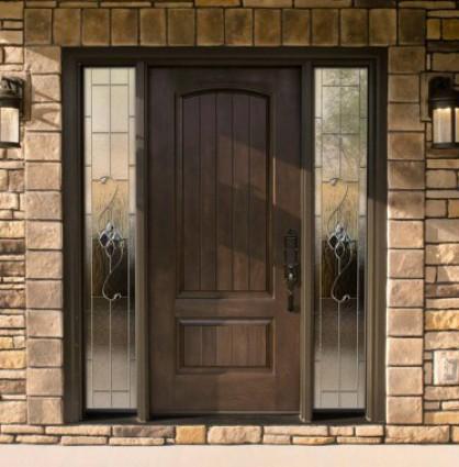 Tile wall and a wooden door - The Door Store in Munster IN & Door Sales and Installation | Munster IN | The Door Store