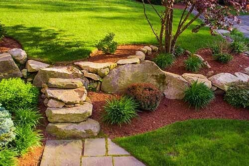 Well landscaped rock stairs and rock wall — Water Fountain Design in Lexington  KY - Mulch Lexington, KY Diamond Pond / Kentucky Garden And Fountain