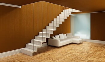 White Stairs And Sofa In An Open Room U2014 Flooring In Verona, PA