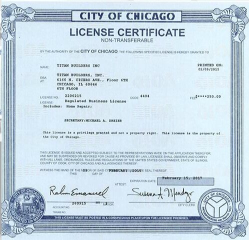 Remodeling Licensing – Chicago,, IL - Titan Builders, Inc