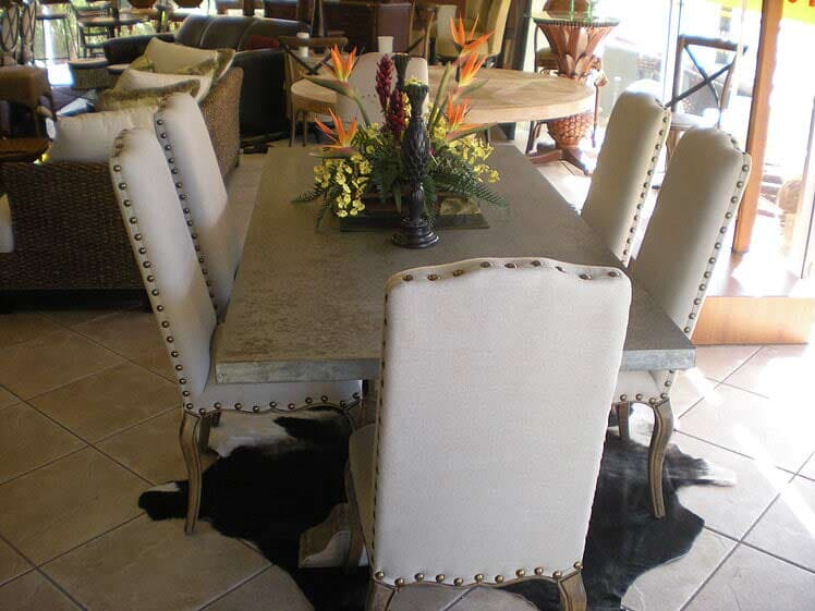 Grey Pedastool Zinc Table   Florida Dining Room Furniture In Naples, FL