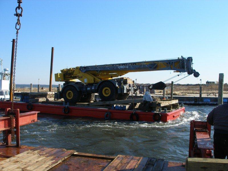 Moving A 50 Ton Rough Terrain Crane To A Modular House Site On Fire Island