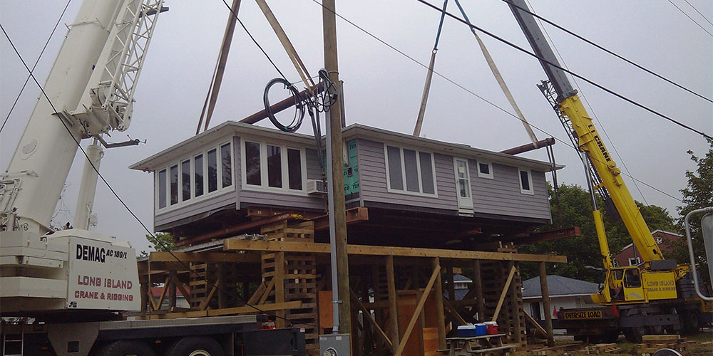 120 Ton Demag & 100 Ton Grove Placing A 100,000 lb House On A New Foundation in Moriches