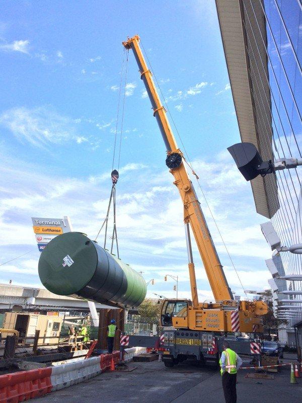200 ton Liebherr setting an underground tank at JFK Airport