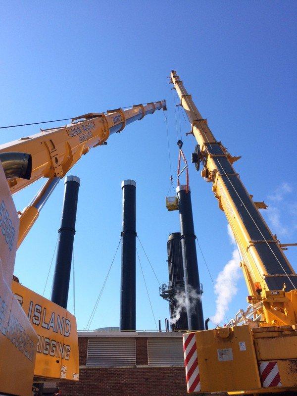 200 ton Liebherr and 110 ton Liebherr setting a boiler stack at Stonybrook University