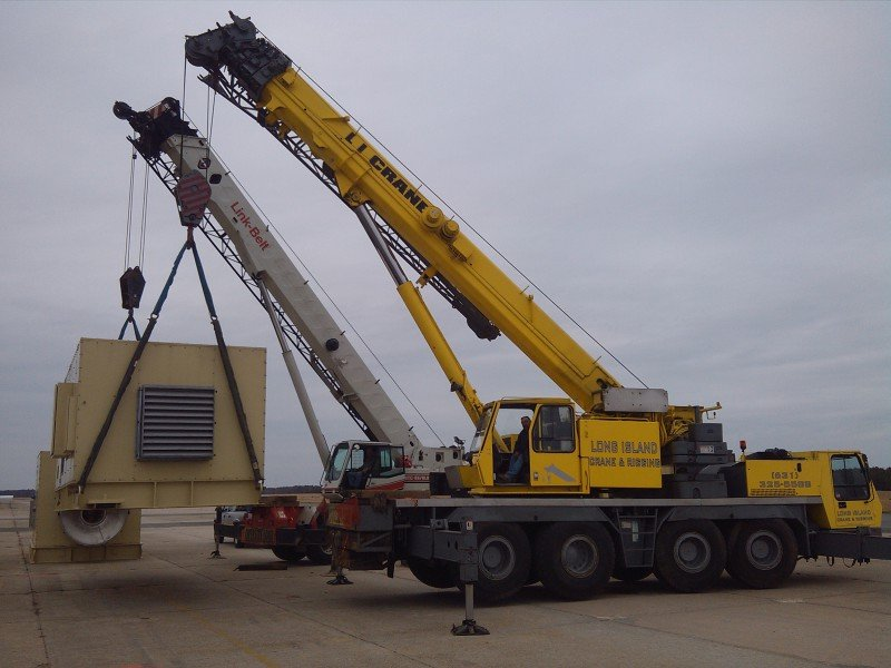 Two Cranes Moving An 80,000 Generator In Riverhead