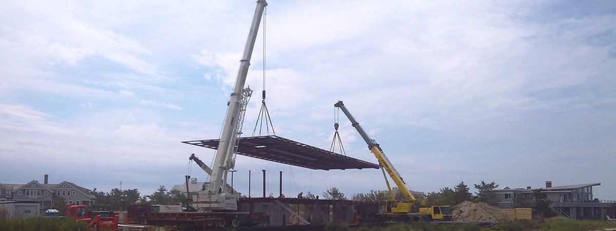 120 Ton Demag & 100 Ton Grove Placing A 100,000 lb Steel Roof System in Southampton