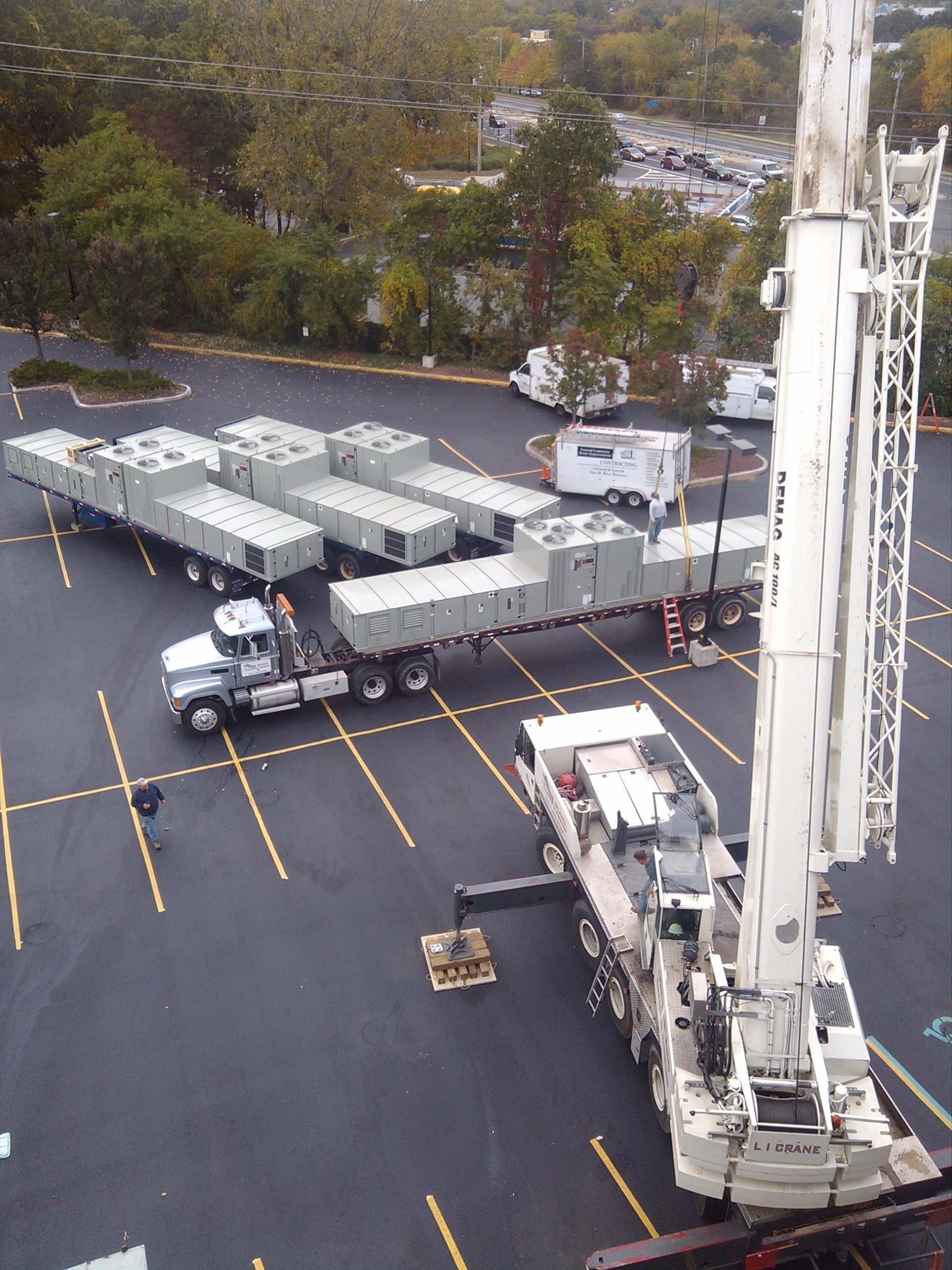 120 Ton Demag And Trucking For New Rooftop HVAC On A Commercial Building In Hauppauge