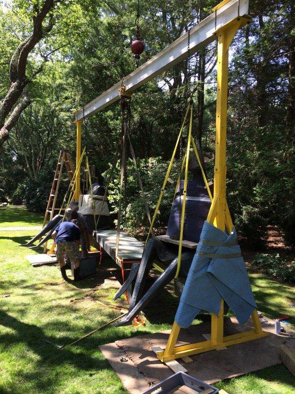 Gantry Setup For Sculpture Restoration In Montauk