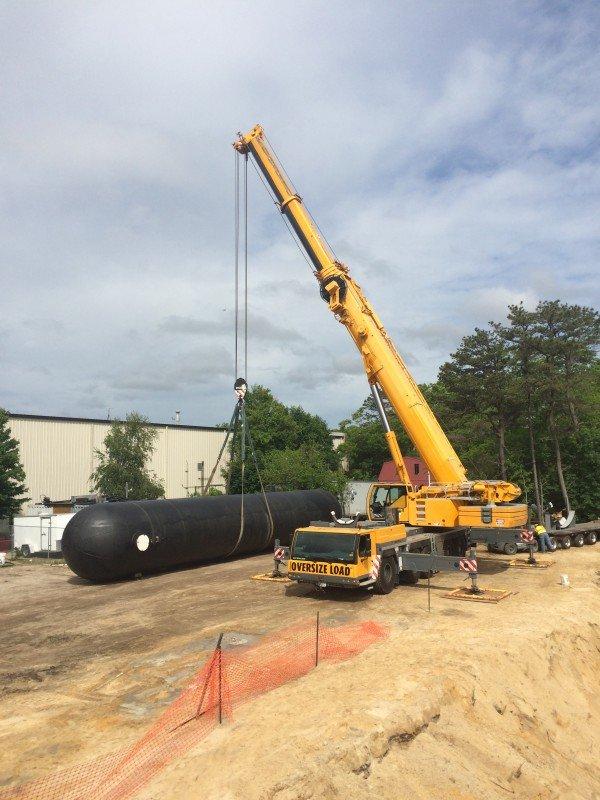 Setting A 50,000 lb Propane Tank in Hampton Bays