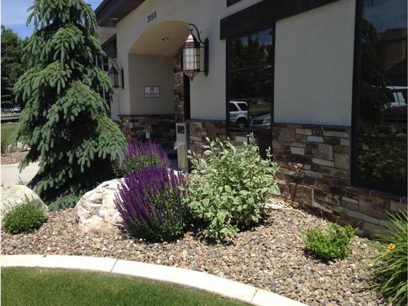 Garden by Commercial Building - Landscaping in Idaho Falls ID - Landscapes - Idaho Falls ID - Diamond T Landscape & Construction, LLC
