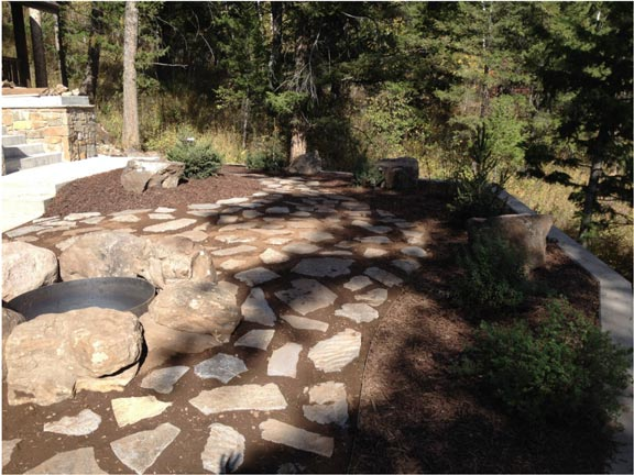 Stone walkway in garden - Landscaping in Idaho Falls ID - Landscapes - Idaho Falls ID - Diamond T Landscape & Construction, LLC