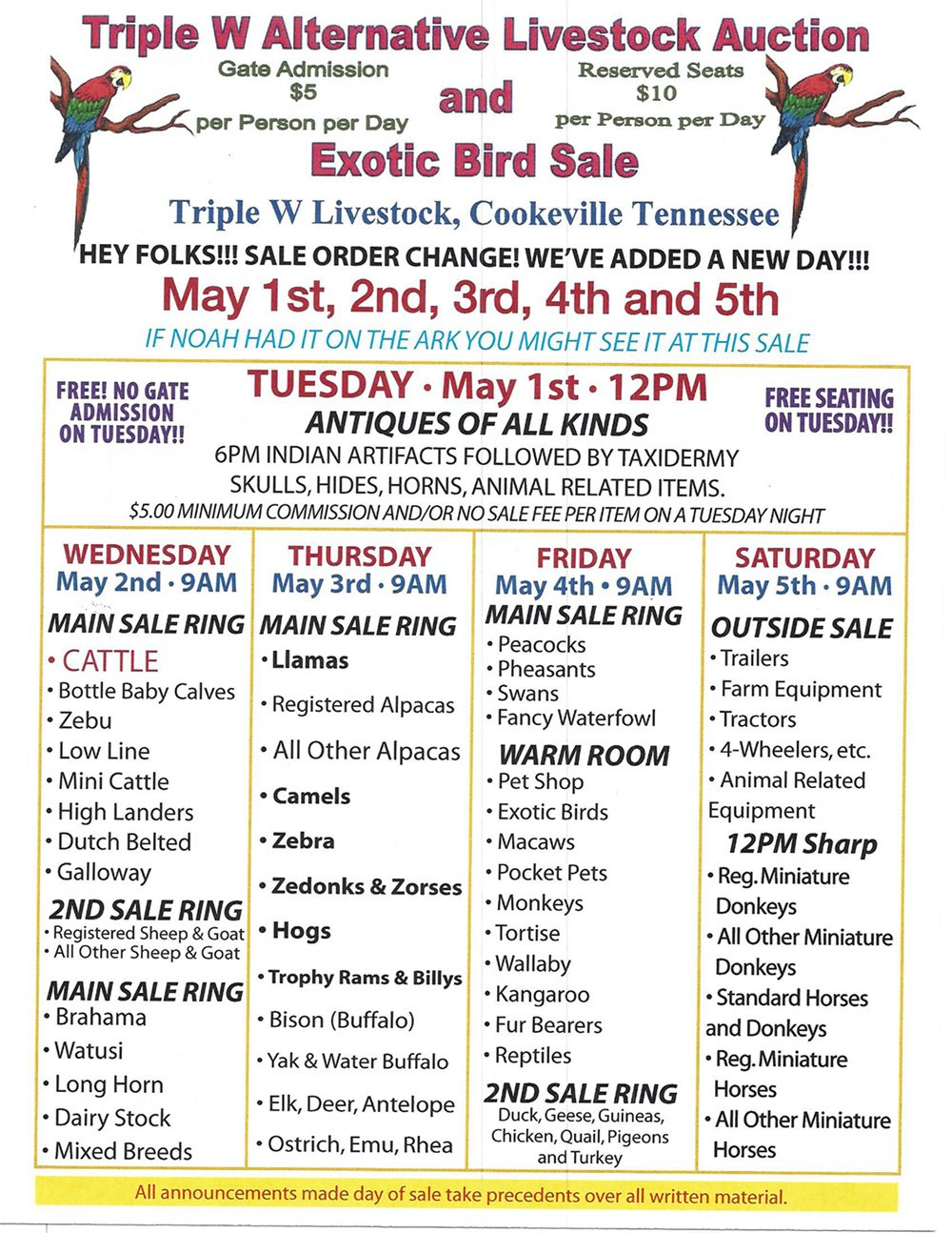 Exotic Animal Auction | Cookeville, TN | Triple W Livestock Auction