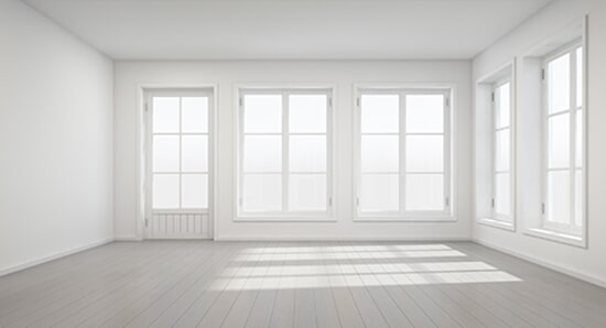 Beautiful White Room With Door And Windows U2014 Sliding Windows In Oklahoma City, OK