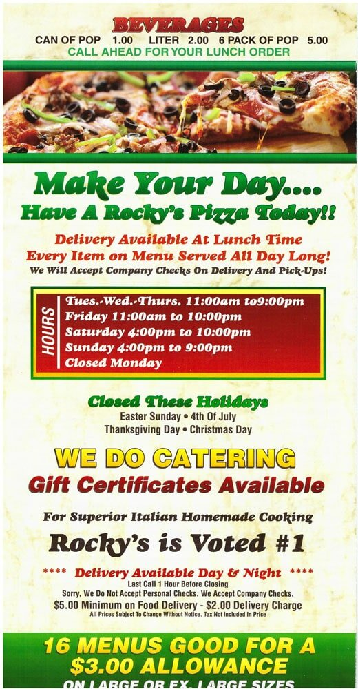 Pizza Places Open On Christmas Day Near Me.Rocky S Pizza Restaurant Menu Rocky S Pizza