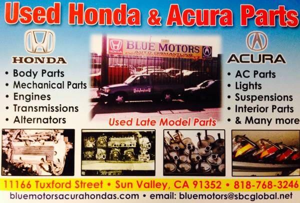 Auto Parts Sun Valley CA Blue Motors Honda Acura Dismantling - Acura body parts wholesale