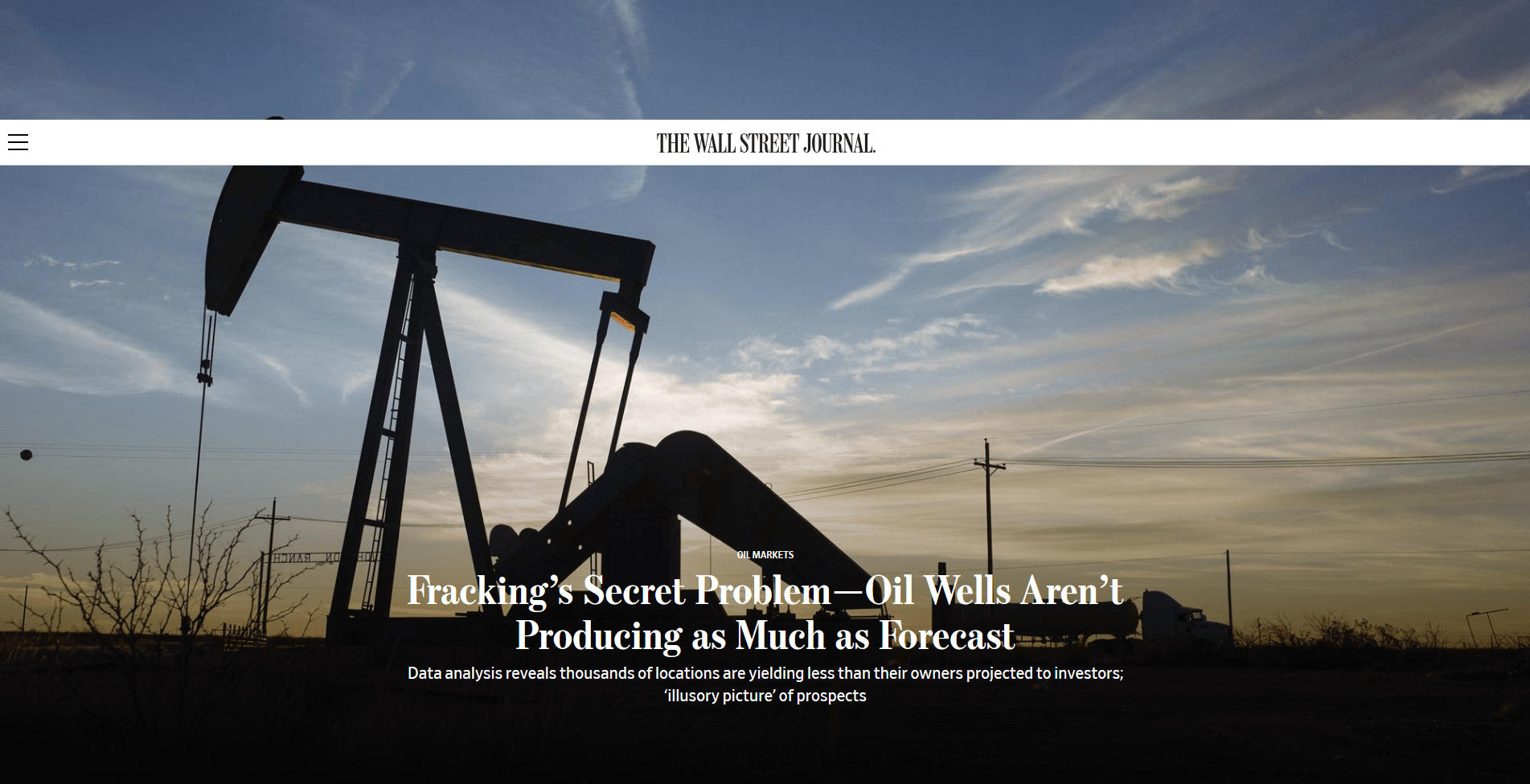 Fracking's Secret Problem—Oil Wells Aren't Producing as Much as Forecast